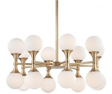 Casa Padrino Luxus LED Kronleuchter Antik Messingfarben / Weiß Ø 68, 6 x H. 34, 3 cm - Kronleuchter mit kugelförmigen Glas Lampenschirmen - Luxus Qualität