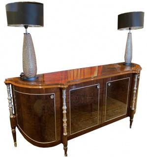 Casa Padrino Luxus Barock Sideboard Braun / Silber 240 x 62 x H. 100 cm - Edler Wohnzimmer Schrank mit 4 Türen - Barock Möbel