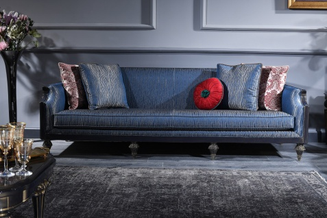 Casa Padrino Luxus Barock Sofa Blau / Gold / Schwarz 240 x 88 x H. 85 cm - Barock Wohnzimmermöbel