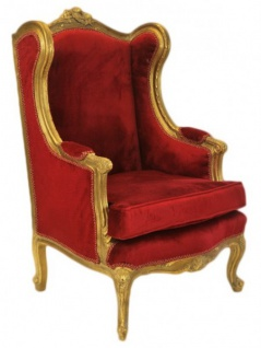 Casa Padrino Barock Lounge Thron Sessel Bordeaux Rot / Gold - Ohren Sessel - Ohrensessel Tron Stuhl