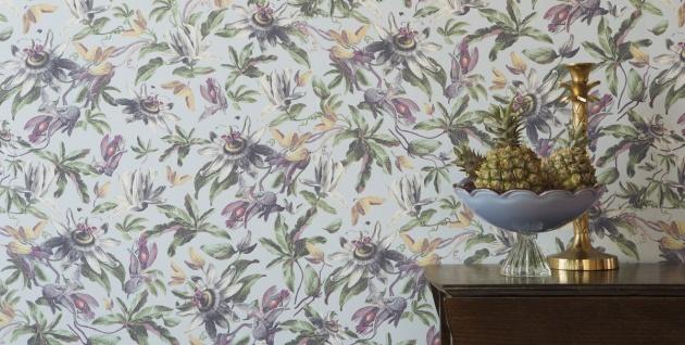 Casa Padrino Luxus Papiertapete Pflanzen Hellblau / Mehrfarbig - 10, 05 x 0, 53 m - Tapete Mustertapete Botanisch Blumen - Vorschau 3