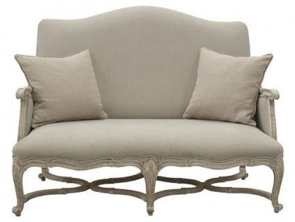Casa Padrino Luxus Barock Sofa Grau / Antik Grau 150 x 100 x H. 115 cm - Wohnzimmer Sofa mit dekorativen Kissen - Edle Barock Möbel