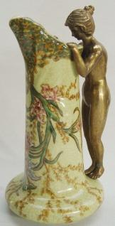 Casa Padrino Jugendstil Blumenvase Messingfarben / Mehrfarbig 12, 3 x 12 x H. 23, 5 cm - Porzellan Vase