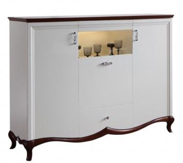 Casa Padrino Luxus Art Deco Barschrank Weiß / Dunkelbraun 164, 2 x 46, 5 x H. 123 cm - Beleuchteter Wohnzimmerschrank mit 3 Türen und Schublade