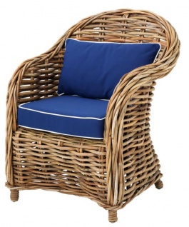 Casa Padrino Designer Rattan Sessel 70 x 70 x H. 88 cm - Luxus Wohnzimmer Möbel - Vorschau 1
