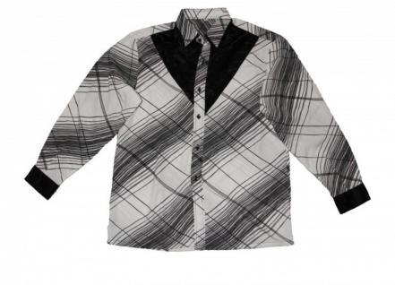 Thai Seidenhemd von Il Padrino Moda Black/White Mod8- Hawaii Langarm Hemd