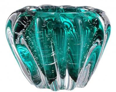 Casa Padrino Luxus Deko Schüssel aus mundgeblasenem Glas Türkis Ø 16 x H. 10 cm - Deko Accessoires