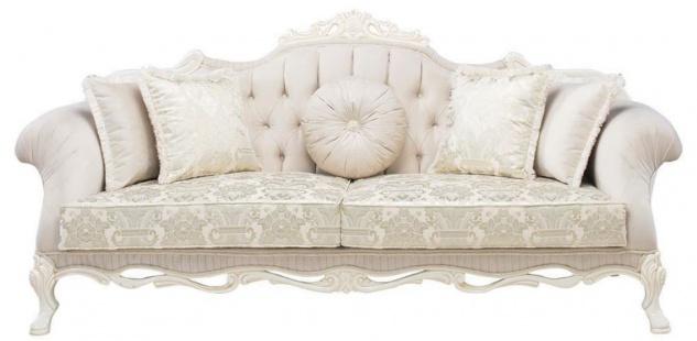 Casa Padrino Luxus Barock Wohnzimmer Sofa mit dekorativen Kissen Hellrosa / Weiß / Beige 230 x 90 x H. 110 cm - Barock Möbel