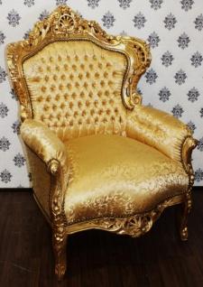 Casa Padrino Barock Sessel King Gold Muster / Gold - Möbel Antik Stil