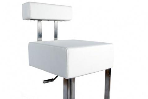 Casa Padrino Barstuhl Eckig Kunstleder Weiß mit Rückenlehne , Barhocker, gepolstert, drehbar, höhenverstellbar - Vorschau 4