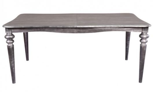 Casa Padrino Barock Esstisch Silber Anthrazit ausziehbar 180 - 230 cm - Tisch