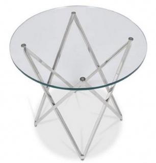 Casa Padrino Luxus Beistelltisch Silber Ø 60 x H. 55 cm - Runder Edelstahl Tisch mit Glasplatte - Luxus Möbel - Vorschau 3