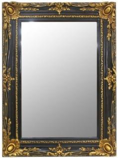 Casa Padrino Barock Spiegel Schwarz / Gold 90 x 10 x H. 120 cm - Handgefertigter Wandspiegel im Barockstil - Garderoben Spiegel - Wohnzimmer Spiegel - Barock Möbel