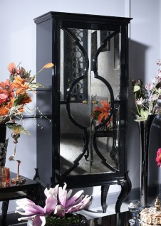 Casa Padrino Luxus Barock Wohnzimmerschrank Schwarz 81 x 45 x H. 192 cm - Massivholz Schrank mit 2 verspiegelten Türen - Barock Wohnzimmermöbel