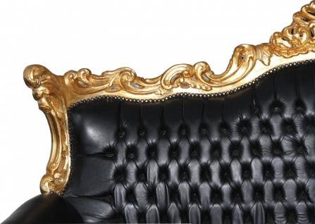 Casa Padrino Barock Wohnzimmer Set Master Schwarz / Gold Lederoptik Mod2 - 3-er Sofa + 2 Sessel - Vorschau 4