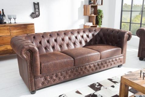 Chesterfield 3er Sofa Antikbraun aus dem Hause Casa Padrino - Wohnzimmer Couch Antik Braun