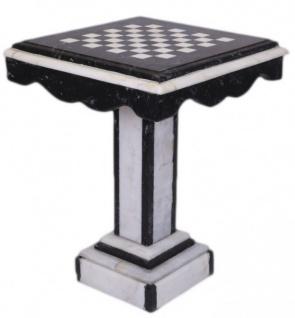 Casa Padrino Luxus Barock Spieltisch Schach / Dame Tisch Marmor Schwarz - Weiss - Möbel Antik Stil Art Deco Jugendstil