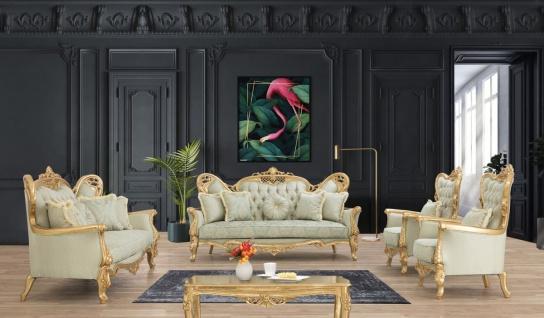 Casa Padrino Luxus Barock Wohnzimmer Set Hellgrün / Gold - 2 Sofas & 2 Sessel & 1 Couchtisch - Handgefertigte Barock Wohnzimmer Möbel - Edel & Prunkvoll