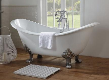 Casa Padrino Luxus Jugendstil Badewanne Weiß / Silber 180 x 77 x H. 79 cm - Gebogene freistehende Acryl Badewanne mit Löwenfüßen - Jugendstil Badezimmermöbel