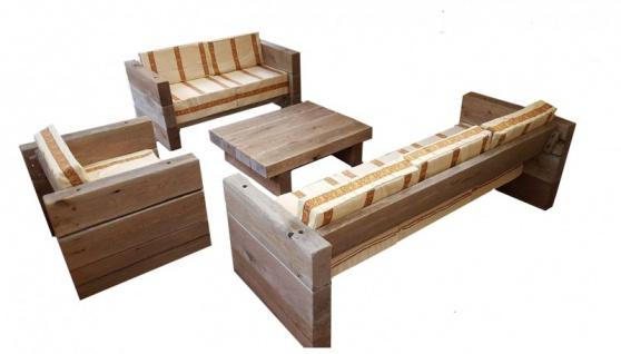 Luxus Garten Möbel Set Eiche Massiv - schwere Ausführung - 3er, 2er, 1x + Tisch - Massivholz rustikal - Lounge Set