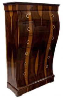 Casa Padrino Art Deco Kommode mit 6 Schubladen Braun / Hellbraun 95 x 45 x H. 155 cm - Mahagoni & Wurzelholz Schubladenschrank - Wohnzimmerschrank - Art Deco Möbel