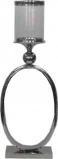 Casa Padrino Kerzenständer mit Glas Ring Vintage 62 x 23 cm Design Aluminium