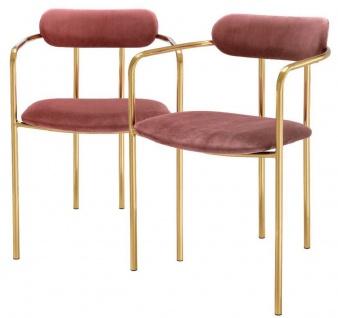 Casa Padrino Luxus Esszimmerstühle mit Armlehnen Rosa / Gold 53 x 50 x H. 74 cm - Küchenstühle mit edlem Samtstoff - Esszimmer Set - Esszimmer Möbel