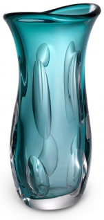 Casa Padrino Luxus Deko Glasvase Türkis 19 x 14 x H. 39 cm - Elegante Blumenvase aus mundgeblasenem Glas - Deko Accessoires