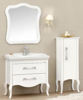 Casa Padrino Luxus Barock Badezimmer Set Weiß / Silber - 1 Waschtisch & 1 Waschbecken & 1 Wandspiegel & 1 Kommode - Edel & Prunkvoll - Luxus Qualität