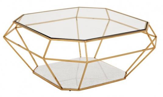 Casa Padrino Luxus Art Deco Couchtisch Glas / Gold - Glastisch - Luxus Kollektion