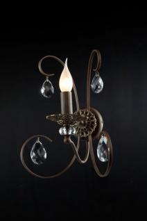 Casa Padrino Barock Kristall Wandleuchte Braun 21 x H 34 cm Antik Stil - Wandlampe Wand Beleuchtung