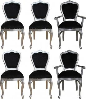 Casa Padrino Luxus Barock Esszimmer Set Schwarz / Silber - 6 handgefertigte Esszimmerstühle - 2 Stühle mit Armlehnen und 4 Stühle ohne Armlehnen - Barock Esszimmermöbel - Vorschau 1