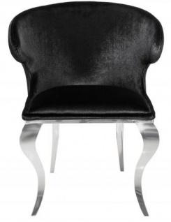 Casa Padrino Designer Esszimmer Set Schwarz / Silber / Weiss - Esstisch 200 cm + 6 Stühle - Modern Barock - Vorschau 5