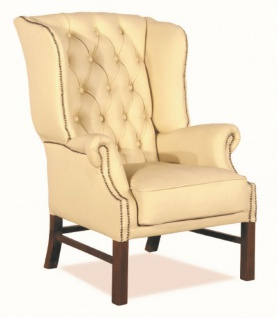 Casa Padrino Chesterfield Echtleder Ohrensessel Creme 80 x 80 x H. 110 cm - Luxus Sessel