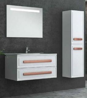 Casa Padrino Luxus Badezimmer Set Weiß / Bronze - 1 Waschtisch und 1 Waschbecken und 1 LED Wandspiegel und 1 Hängeschrank - Luxus Badezimmermöbel