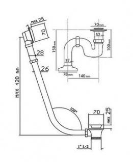 Ab und Überlauf System inkl. Siphon für Nostalgie Badewanne Sicilia, Toscane, San Sebastian, Roma - Chrom - Vorschau 2