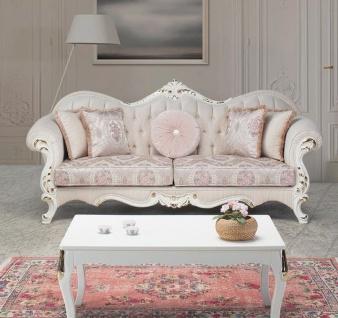 Casa Padrino Luxus Barock Couchtisch Weiß / Gold 91 x 63 x H. 42 cm - Massivholz Wohnzimmertisch im Barockstil - Barock Wohnzimmer Möbel
