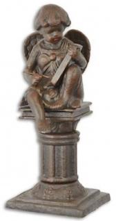 Casa Padrino Jugendstil Gartendeko Gusseisen Figur Engel auf Säule Braun 16, 7 x 14, 1 x H. 34, 1 cm - Garten & Terrassen Deko Skulptur - Barock & Jugendstil Deko Accessoires
