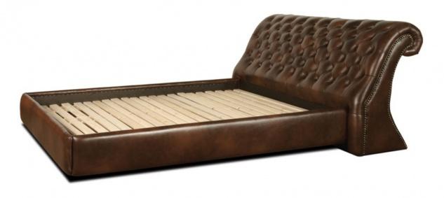 Casa Padrino Chesterfield Echtleder Bett Dunkelbraun - Luxus Schlafzimmermöbel
