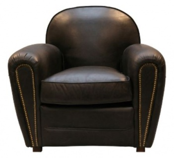 Casa Padrino Luxus Echtleder Sessel Schwarz 88 x 76 x H. 88 cm - Luxus Kollektion