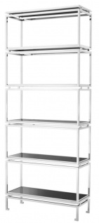 Casa Padrino Edelstahl Regalschrank mit schwarzen Glasplatten 90 x 35 x H. 223, 5 cm - Luxus Wohnzimmerschrank