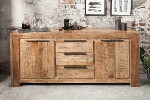 Casa Padrino designer Kommode 174 x 50 x H.76cm - Fernsehschrank - Sideboard - Handgefertigt aus Massivholz - Unikat! - Vorschau 3
