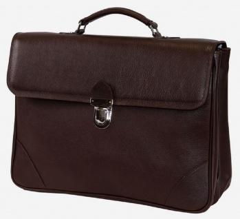 Casa Padrino Luxus Echtleder Aktentasche Dunkelbraun / Silber 42 x 16 x H. 29 cm - Herren Laptoptasche aus hochwertigem Leder - Luxus Herren Accessoires