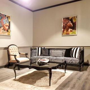 Casa Padrino Luxus Barock Sofa Zebra / Schwarz - Handgefertigtes Wohnzimmer Sofa im Barockstil - Edle Barock Wohnzimmer Möbel - Vorschau 5