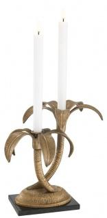 Casa Padrino Luxus Doppel Kerzenhalter im Palmen Design Vintage Messingfarben / Schwarz 31 x 29 x H. 30 cm - Luxus Qualität