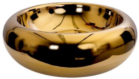 Casa Padrino Luxus Waschbecken Gold Ø 51 x H. 17 cm - Rundes massives Keramik Waschbecken - Luxus Badezimmer Accessoires