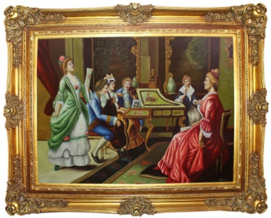Casa Padrino Barock Ölgemälde Das Konzert Mehrfarbig / Gold 160 x 10 x H. 130 cm - Handgemaltes Gemälde mit prunkvollem Rahmen im Barockstil - Deko im Barockstil