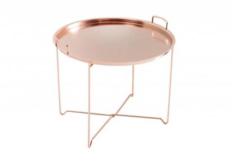 Casa Padrino Luxus Couchtisch Klappbar - Tablett Kupfer B.56 cm x H.48 cm x T.56 cm - Wohnzimmer Salon Tisch