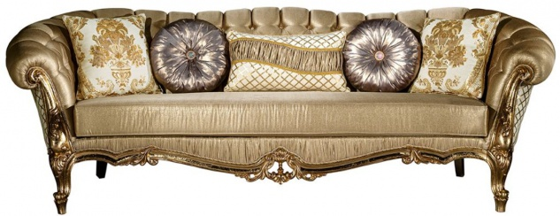 Casa Padrino Luxus Barock Sofa Gold / Weiß 268 x 110 x H. 87 cm - Prunkvolles Wohnzimmer Sofa mit dekorativen Kissen - Wohnzimmer Möbel im Barockstil