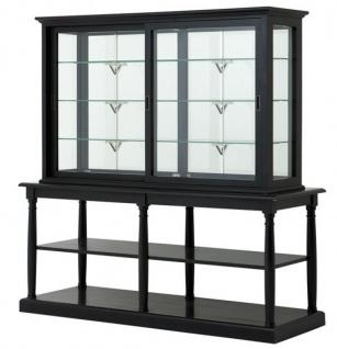 Luxus Glasvitrine mit Ablage Ladeneinrichtung Shop & Hotel Möbel Nortbrook - Luxus Kategorie - Eichenholz - Black Antique Finish - Schrank Vitrine